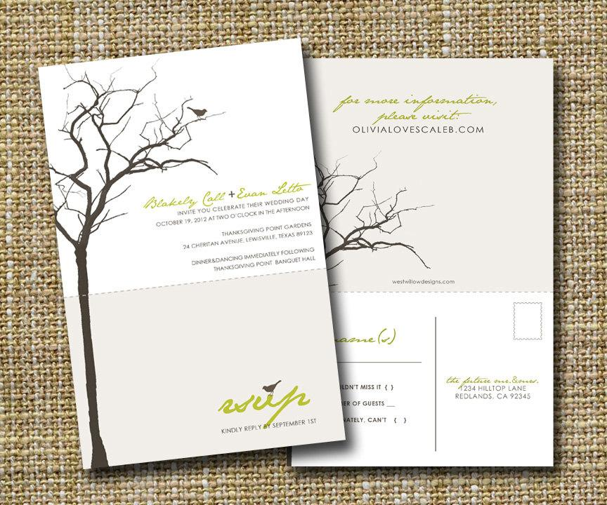 Hochzeit - modern wedding invitation with perforated rsvp postcard - love birds.
