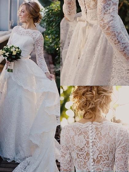 Wedding - Scalloped Neck Sweep Train Lace Sashes / Ribbons Long Sleeve Newest Wedding Dresses in UK