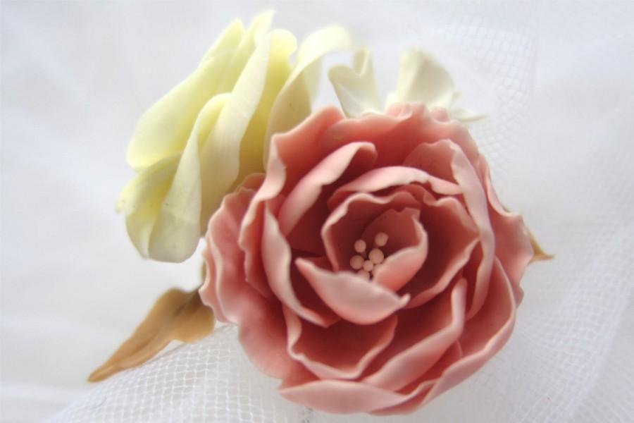 Mariage - Rose Ivory- bridal hair pin, Bridal flower hair clip, Bridal flower pin, Wedding hair pins, Bridal hair flower
