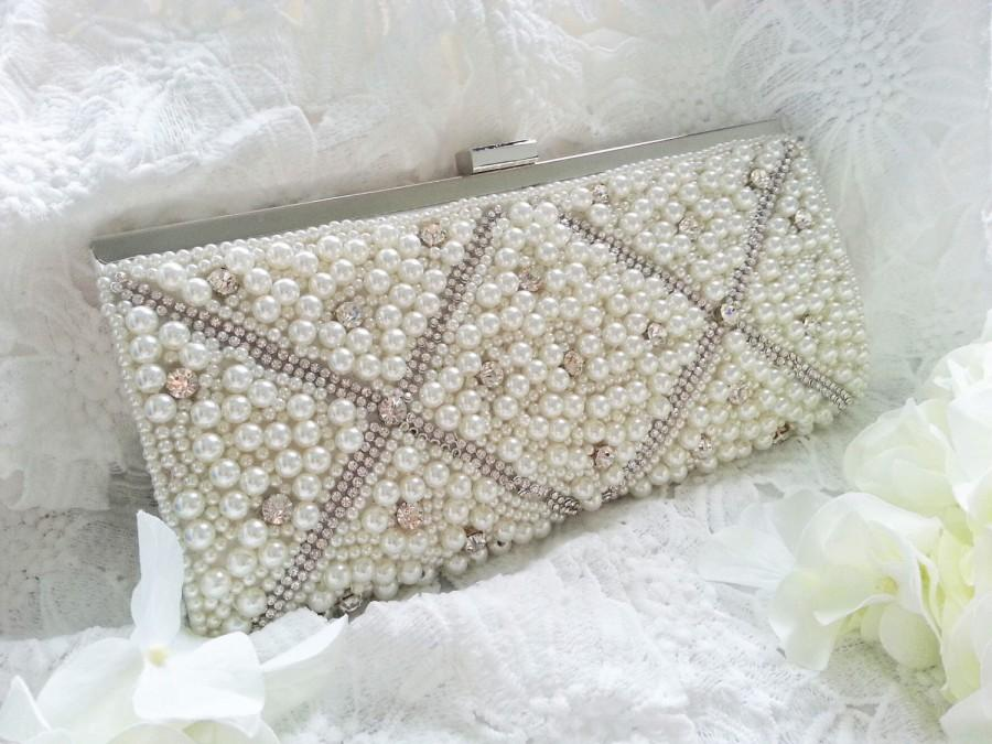 Hochzeit - Pearl Bridal Clutch - Pearl and Rhinestone Oversized Beaded White - Wedding Bag - Love Bling Bling