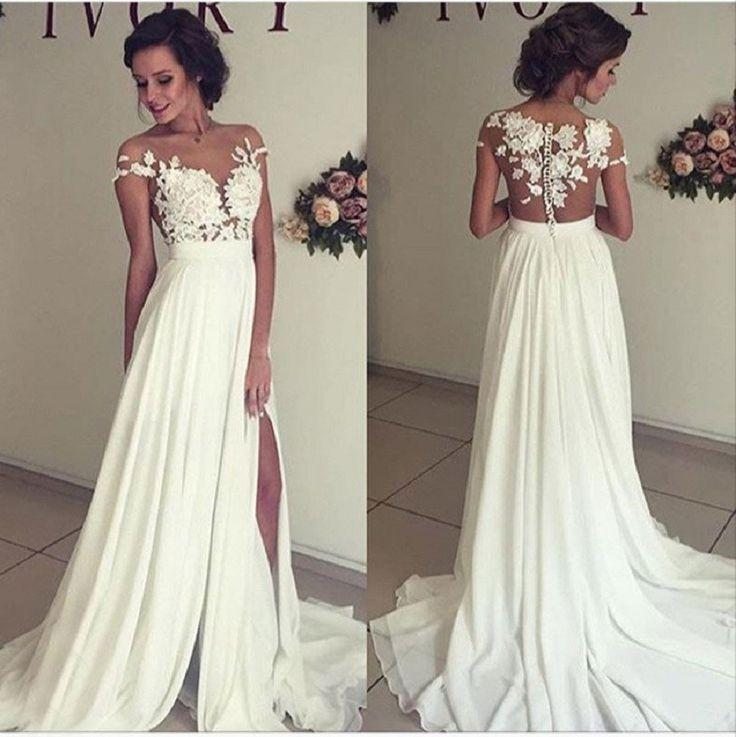 Mariage - A Line See-through Bateau Off The Shoulder Lace Appliqued Floor Length Beach Ivory Wedding Dress,Party Prom Dress