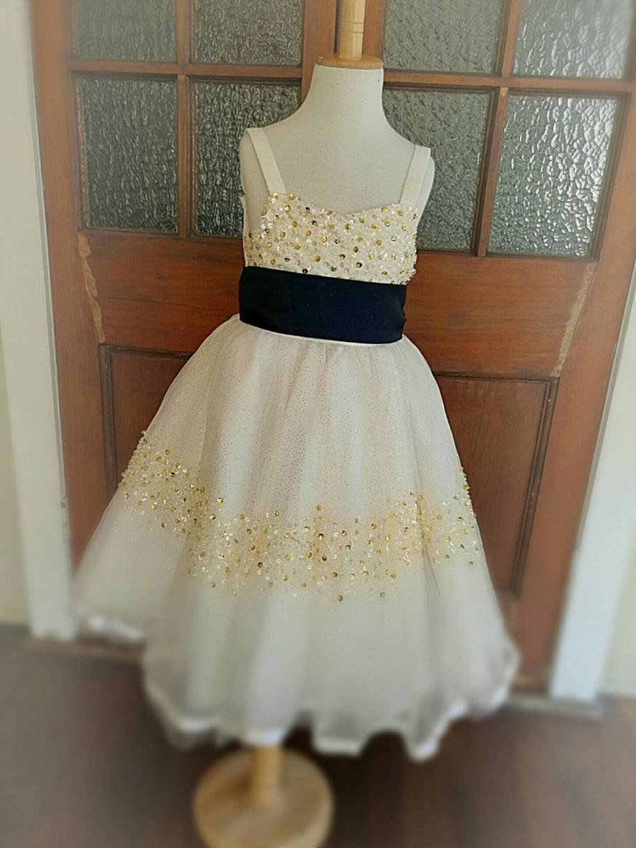 Mariage - Gold Flower Girl Dress Wedding Girls Birthday Party Dress Baby Gold Dress for Special Occasion Sash to customize to suit your Colour Theme