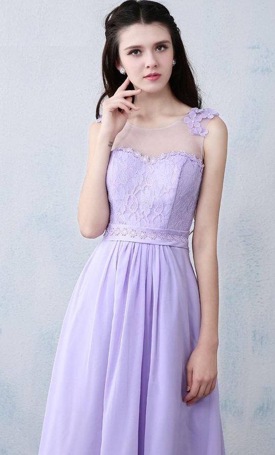 Mariage - Purple Lace Dress, Bridesmaid Long Dress, Prom Evening Dresses, Evening Gown, Wedding Dress