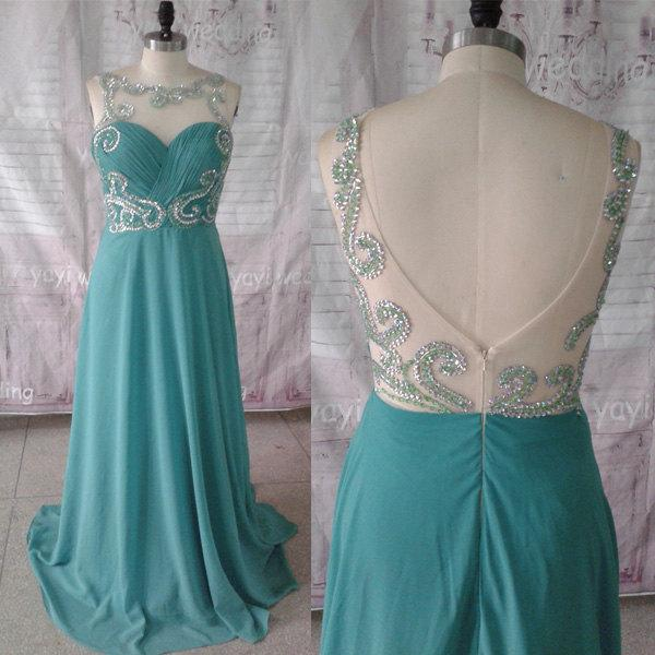 Mariage - Hunter Chiffon Scoop Neckline Exquisite Beadworks Floor Length Formal Evening Dress Prom Dress Prom Gowns ET148