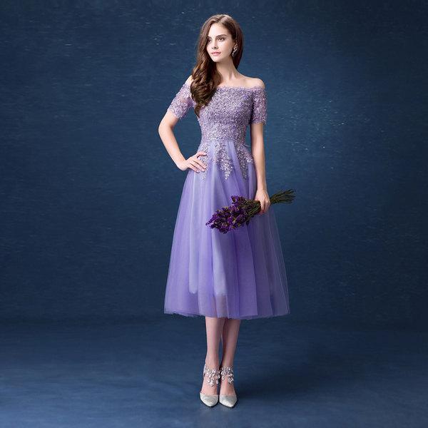 Wedding - Purple Dress, Bridesmaid Long Dress, Prom Evening Dresses, Evening Gown, Wedding Dress