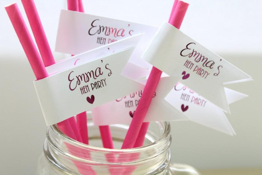 Mariage - Personalised Hen Party Straw Flags/Cupcake Topper for Hen Party/Bridal Shower/Hen Decor in Gold/Silver/Rose Gold/Champagne Gold/Colour Foils
