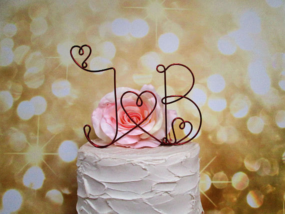 Mariage - Personalized Initials Cake Topper with Heart Details, Rustic Wedding Cake Topper, Shabby Chic Wedding Cake Topper, Wedding Cake Topper