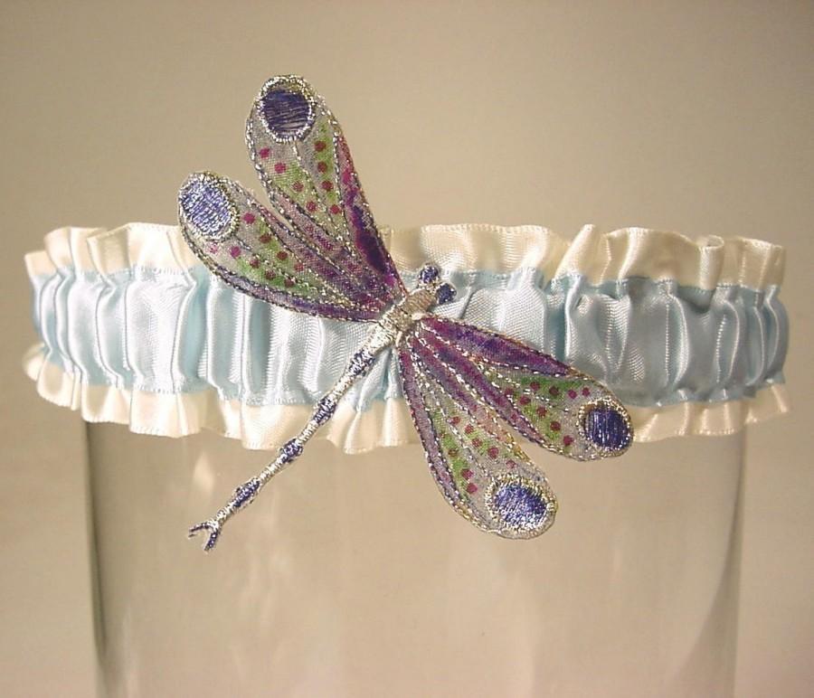 Hochzeit - wedding garter Winged DRAGONFLY Handpainted a PETERENE original design