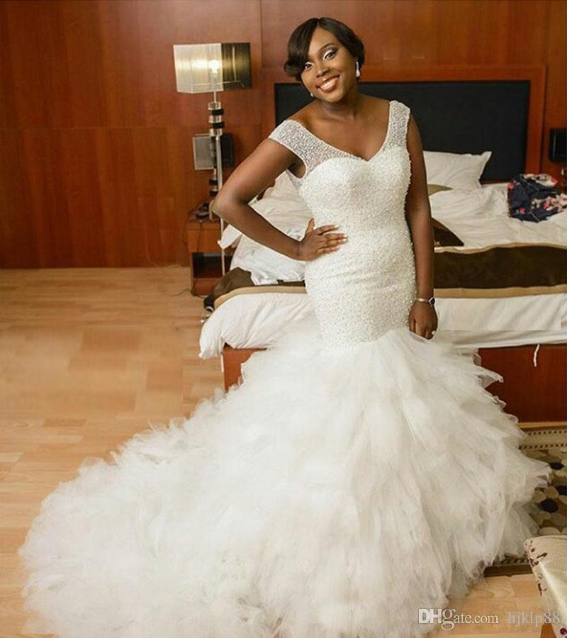 2e5ba600aff9c free shipping, $146.99/piece:buy wholesale wedding dresses 2016 mermaid  african plus size vintage v neck full pearls beaded tulle bridal dress  wedding gowns ...
