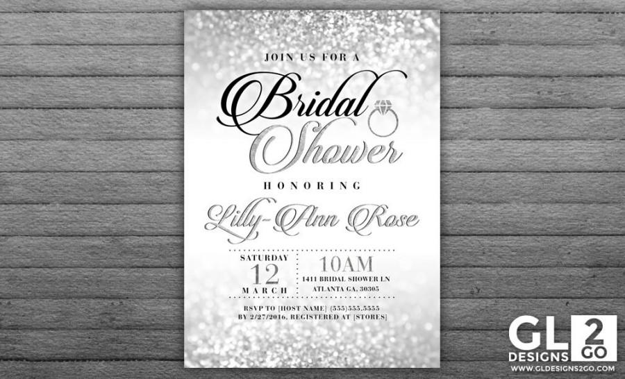 silver bridal shower invitation silver sparkle glitter diamond ring