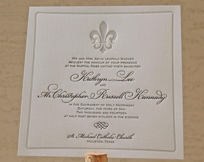 Свадьба - Letterpress Wedding Invitation sample, Wedding invitation, French wedding invitation, Wedding invitations, Fleur-de-lis, Fleur de lis