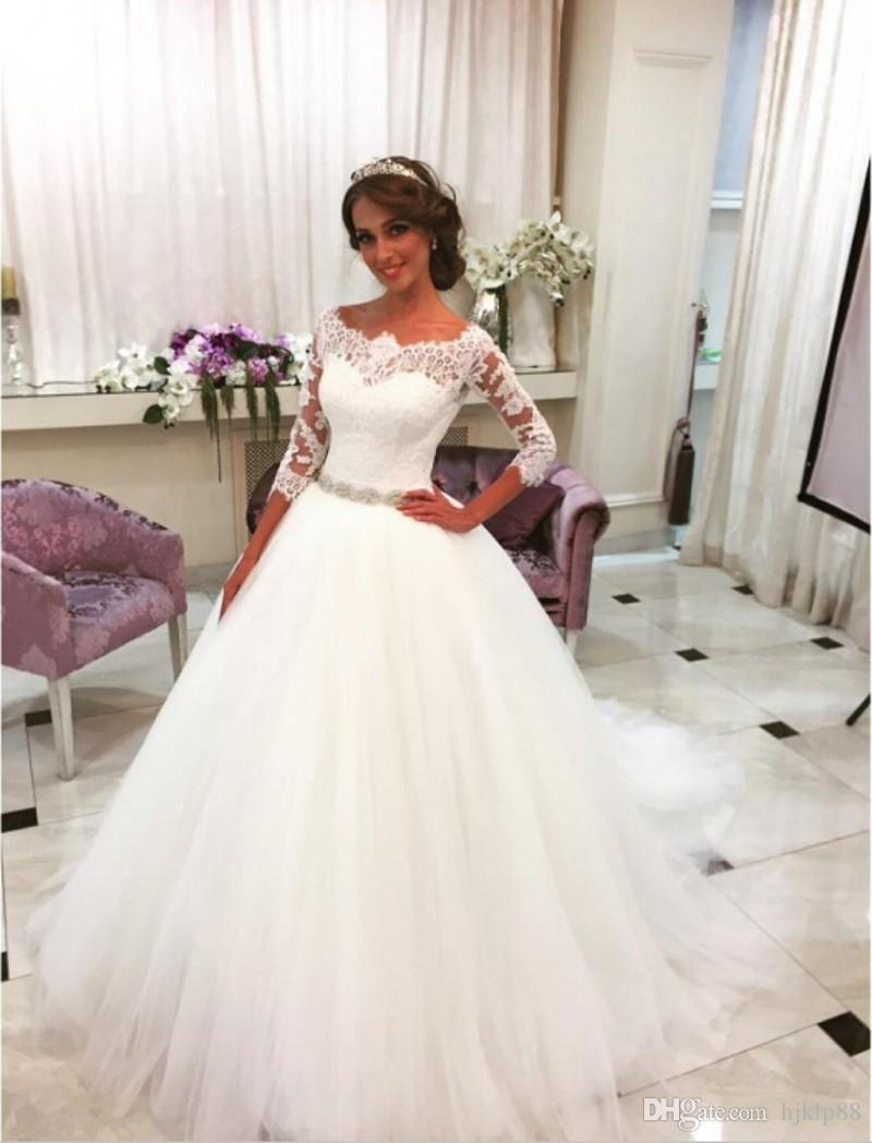 Свадьба - Lovely Princess Ball Gown Wedding Dresses Bridal Dresses 2016 Three Quarter Sleeves Boat Neck Beaded Lace Wedding Dress Robe De Bal Lace Wedding Dresses Mermaid Wedding Dress 2017 Wedding Dresses Online with 154.29/Piece on Hjklp88's Store
