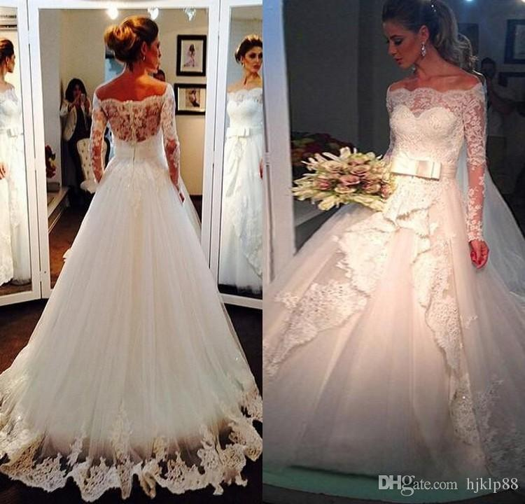 Elegant off shoulder lace wedding dresses with long for Winter vintage wedding dresses