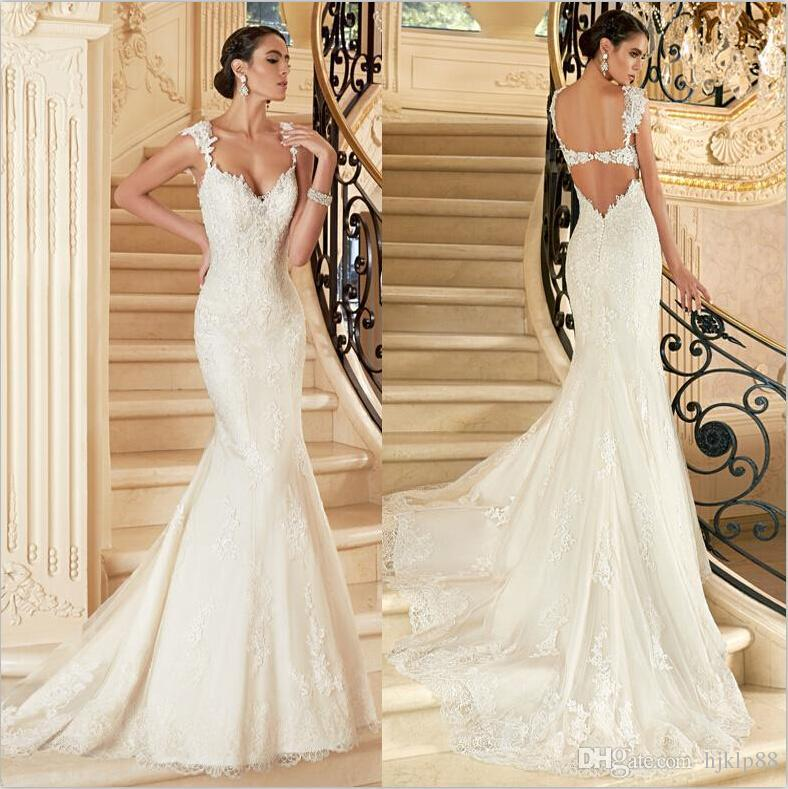 Attractive 2016 New Arrival Mermaid Wedding Dresses V Neck Spaghetti Backless Applique  Beaded Castle/Garden Court Train Bridal Gowns Online With 156.8/Piece On ...