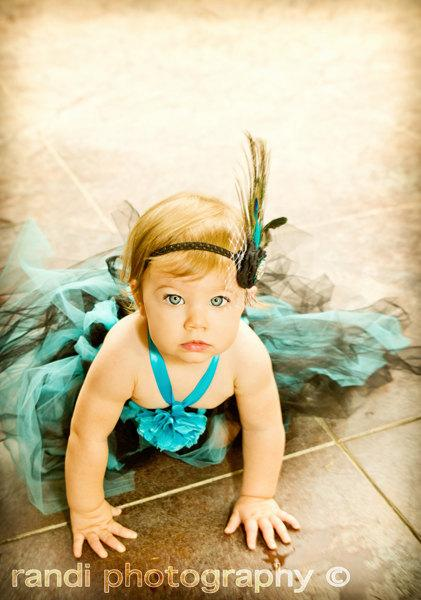 Mariage - Beautiful Girl Tutu Dress, Photo Prop, in Beautiful Turquoise and Black