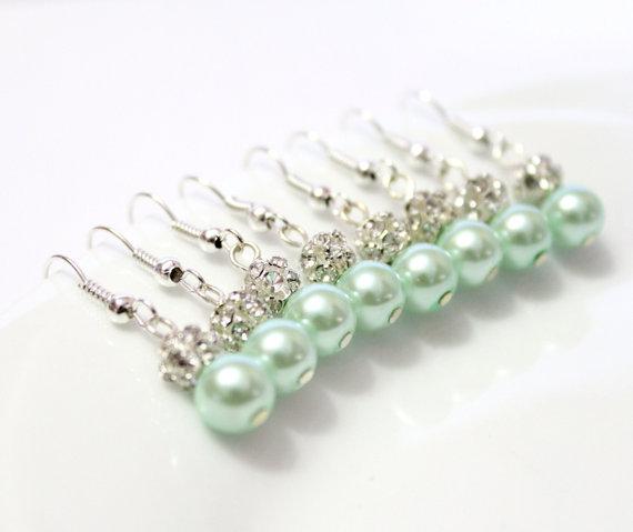 Wedding - 4 Pairs Mint Pearls Earrings, Set of 4 Bridesmaid Earrings, Pearl Drop Earrings, Swarovski Pearl Earrings, Pearls in Sterling Silver, 8 mm