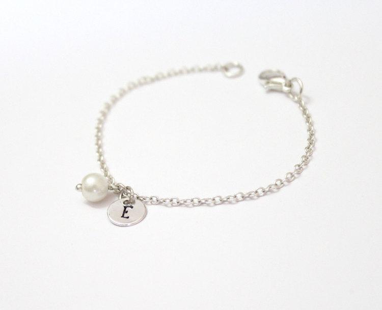 Initial Bracelet Personalized Silver Sterling Swarovski Pearl