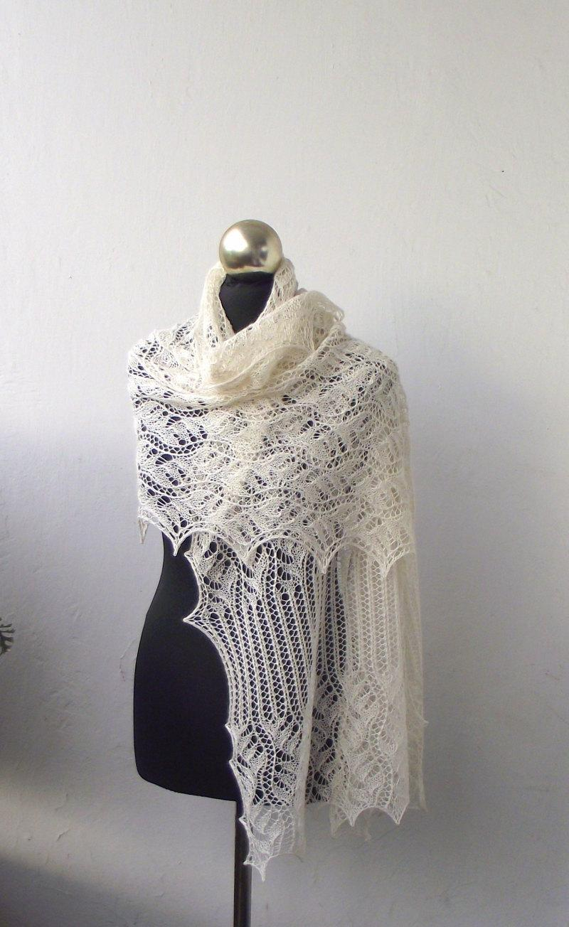 Mariage - Cream lace shawl, hand knitted lace stole,off white wedding  shawl
