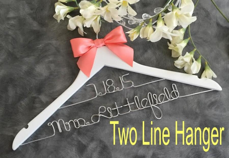 Mariage - HUGE SALE Wedding hanger/ SALE / personalized Bridal hanger/Two Tier hanger / perfect bridal shower gift , u pick any name , bridal party gi