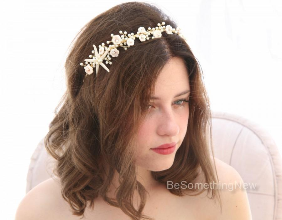 Beach Wedding Starfish And Pearl Headband Headpiece Destination Beaded Tiara With Star Fish Shell Flowers