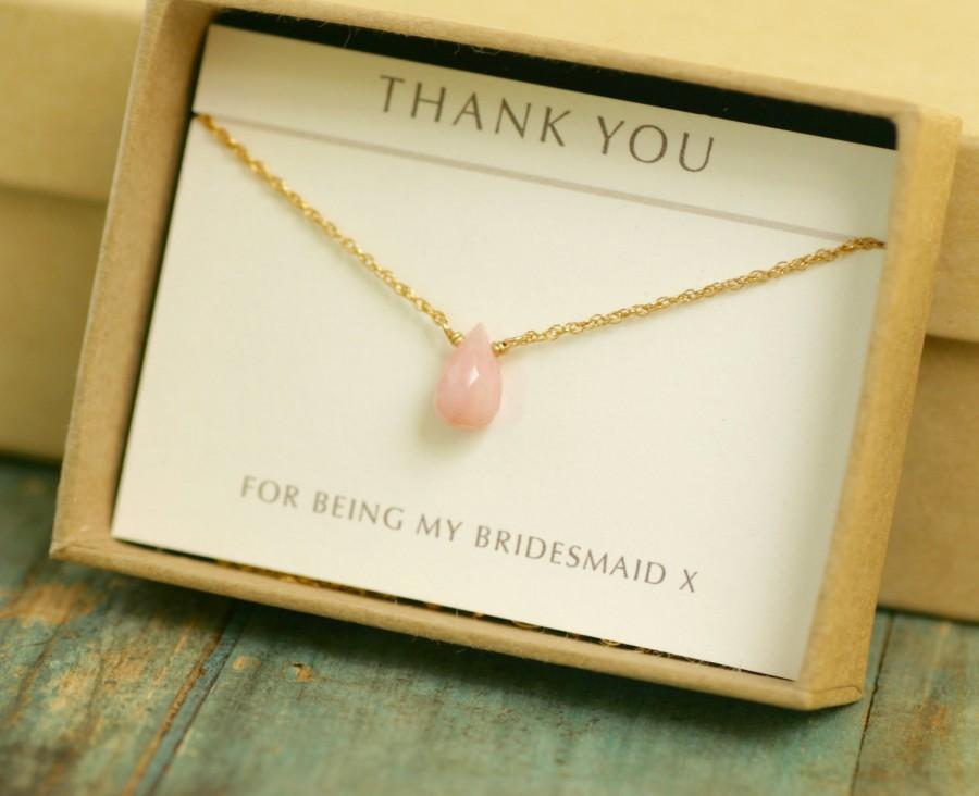 Mariage - Pink opal necklace, petite necklace, pink bridesmaid jewelry for bridesmaid, delicate necklace silver, October birthstone - Natalie