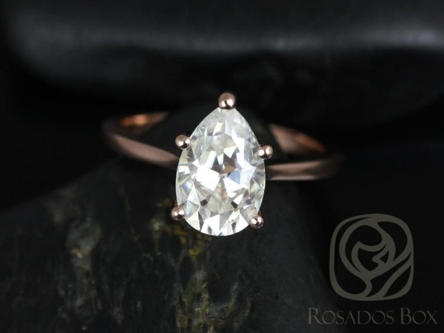 Mariage - Skinny Jane 10x7mm 14kt Rose Gold Pear FB Moissanite Tulip Cathedral Solitaire Engagement Ring (Other metals and stone options available)