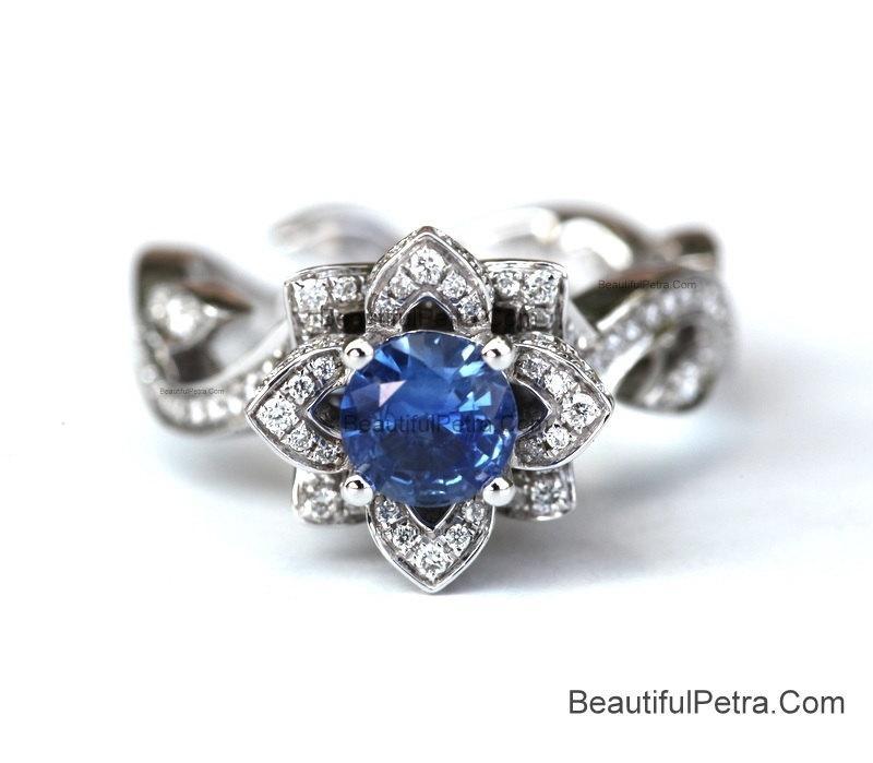 Wedding - BLOOMING Work Of Art - Flower Rose Lotus Diamond Engagement Ring - Blue sapphire - 14K white gold -fL07 BeautifulPetra Patented design