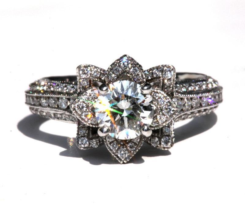 Art Deco Unique Diamond Wedding Ring 14k Two Tone Gold: Gorgeous UNIQUE Flower Lotus Rose Diamond