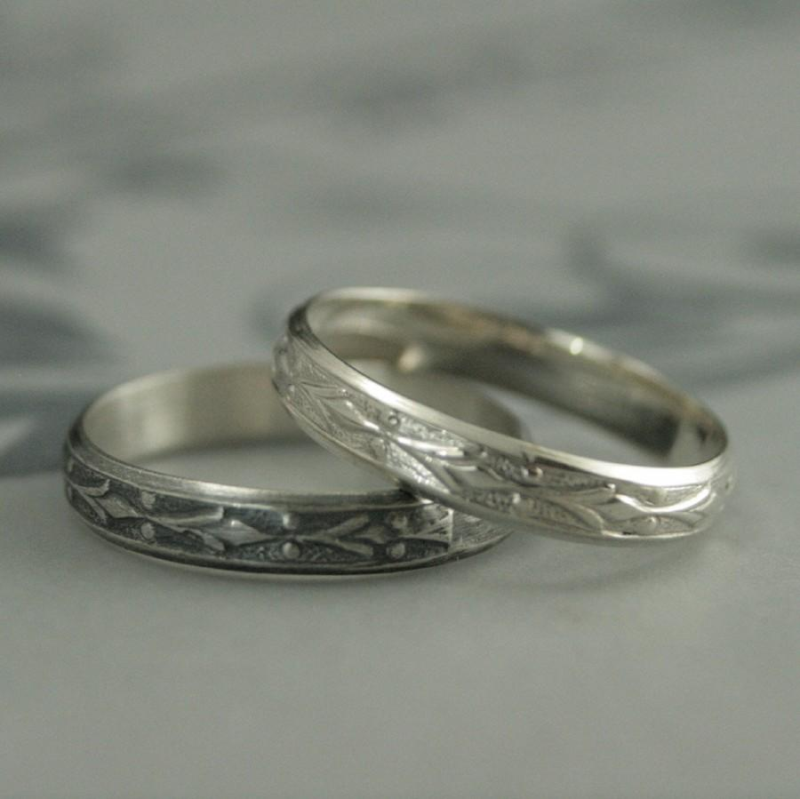 Edwardian Band--Vintage Style Ring--Silver Wedding Band