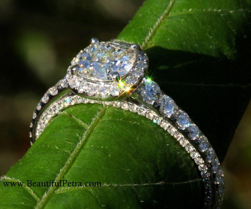 Wedding - OLD and NEW - 1.31 carats total - Old Mine Cut Center Diamond - Halo - Antique Style - Diamond Engagement Ring 14K - Bph031