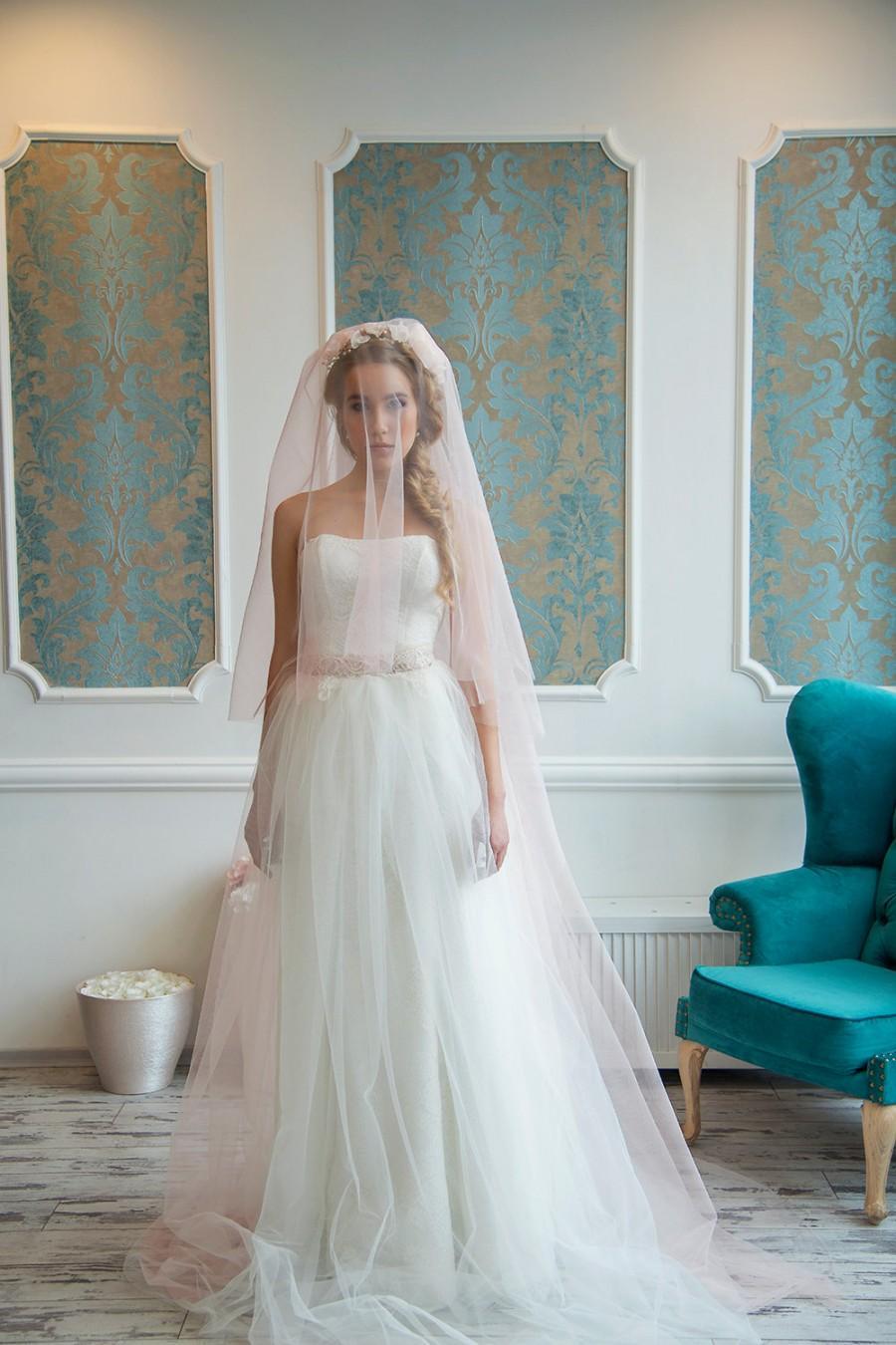 زفاف - Majesty Elizabeth Blush wedding veil Wedding veil,bridal veil,blush,wedding veil fingertip,wedding veil cathedr