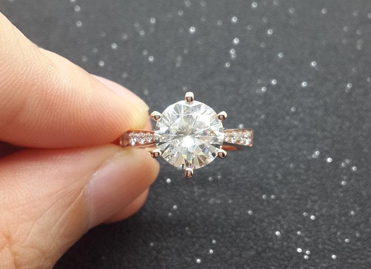 زفاف - Custom made 1ct Brilliant Moissanite Engagement ring White gold,Diamond wedding band,14k,Round Cut,Gemstone Promise Ring,Bridal,6-Prongs