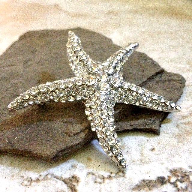 Wedding - Rhinestone Starfish Silver Clear Rhinestone Flatback Embellishment or Brooch Pin Crystal Starfish Broach Nautical Brooch Bouquet DIY SC9