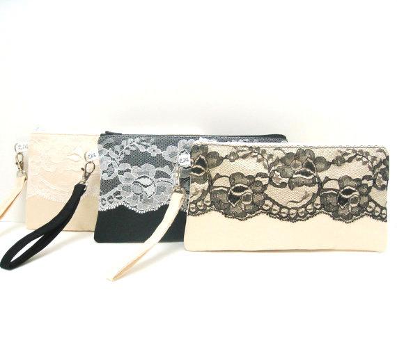 Hochzeit - Bridal Bridesmaid Clutch Rectangle Wristlet, Lace on Satin