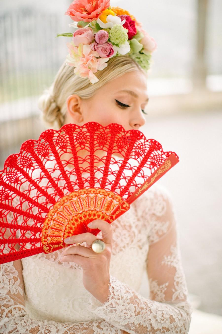 Mariage - Lace Hand Fan-Red Spanish Hand Fan- Hand Held Fan- Bouquet Alternative- Gift for Her- Gift under 50- Folding Hand Fan- Spanish Wedding Fan