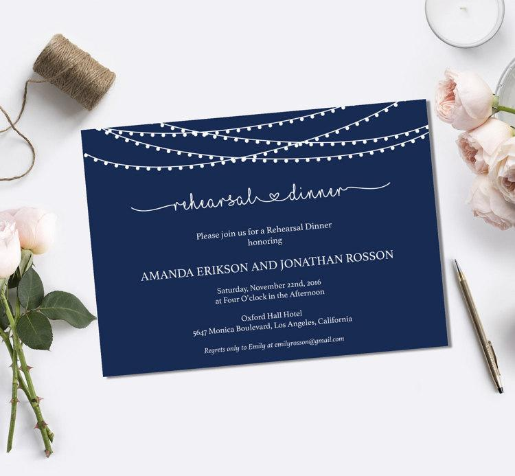 Свадьба - Navy Blue String Lights Rehearsal Dinner Invitations & Wedding Dinner Invitations - Navy Dinner Invites PDF Instant Download