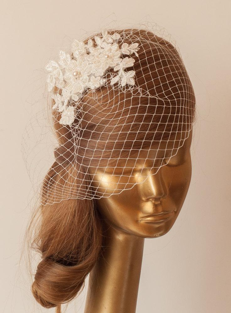 Wedding - BIRDCAGE VEIL. Ivory veil .Romantic Wedding Headpiece with beautiful,delicate LACE Flowers.Bridal Fascinator