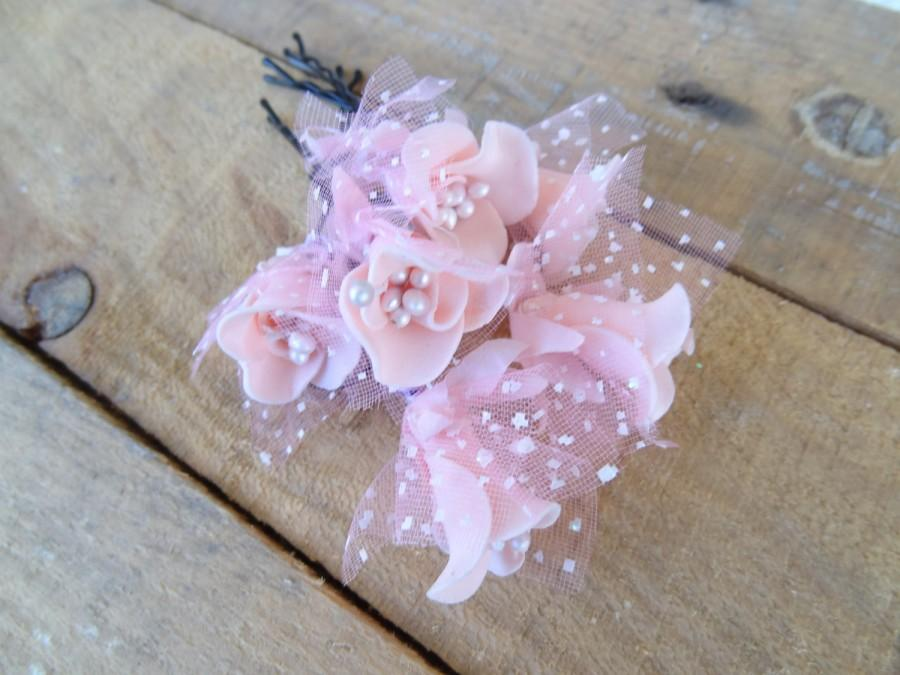 زفاف - Salmon Pink Rose Wedding Hair Pins, Ivory Bridal Hair Pins, Hair Accessories, Bridesmaid Hair, Woodland - Set of 6