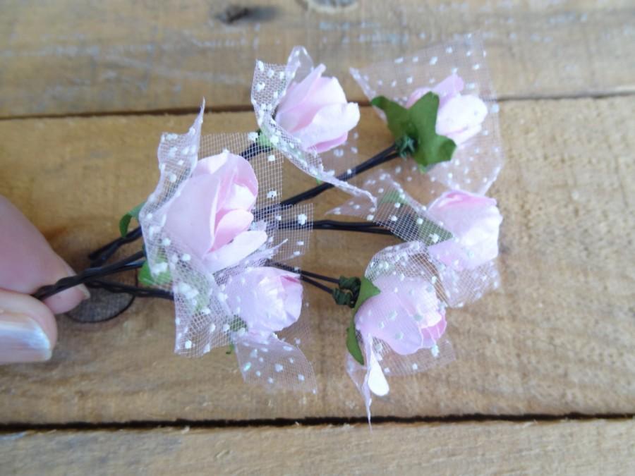 زفاف - Pink Rose Wedding Hair Pins, Ivory Bridal Hair Pins, Hair Accessories, Bridesmaid Hair, Woodland - Set of 6