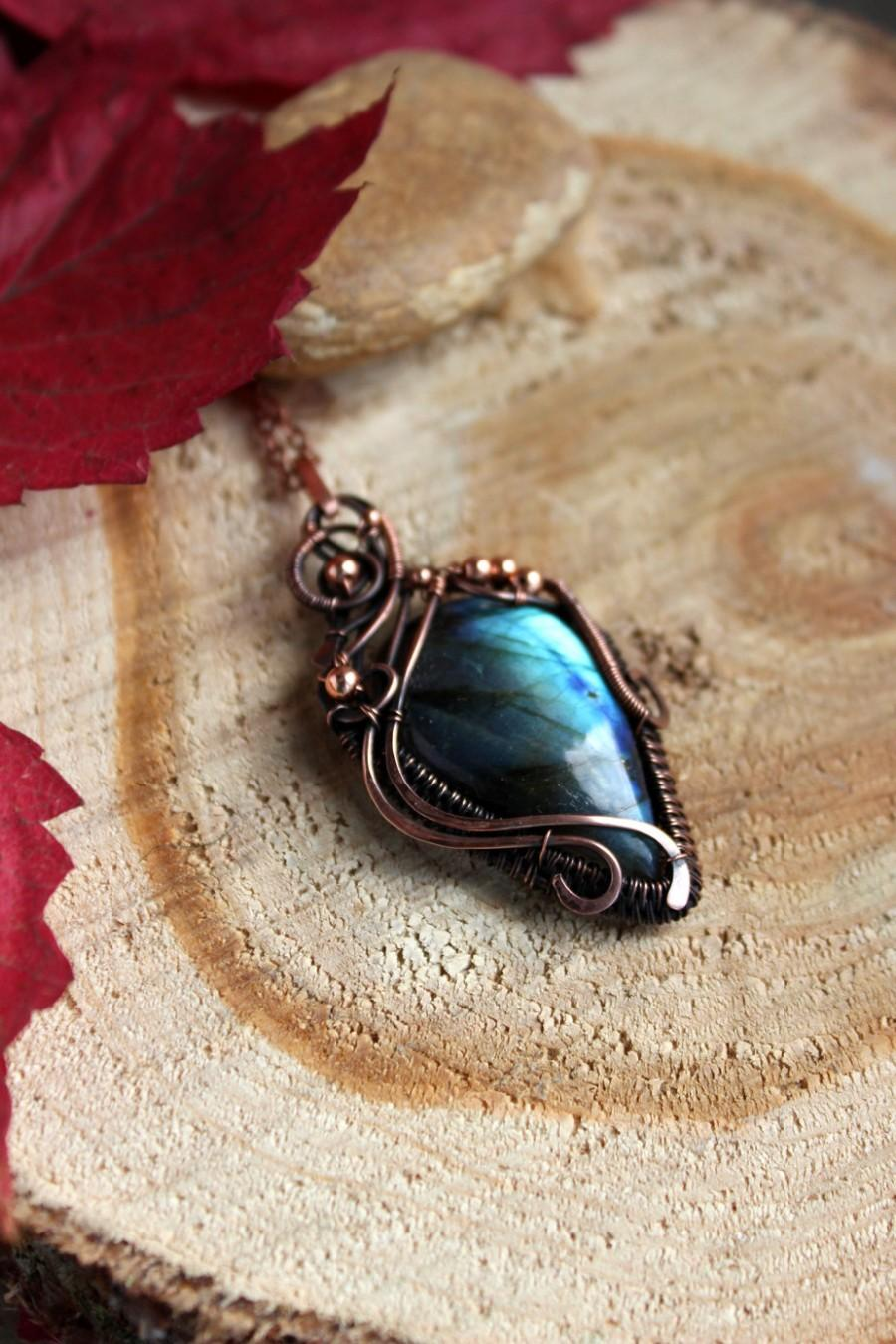 Labradorite Pendant Wire Wrapped Pendant Necklace Handmade Gift ...
