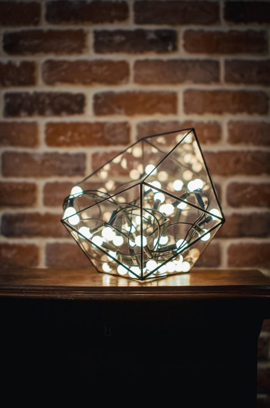 Свадьба - Medium Terrarium Icosahedron, Stained Glass Vase, Planter for indoor gardening, Candle holder, Stained glass icosahedron