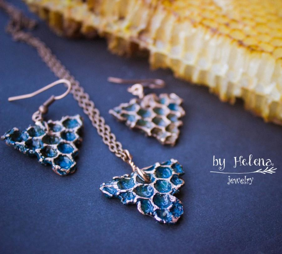 Свадьба - Copper set Copper jewelry Electroformed jewelry Natural honeycomb Copper pendant