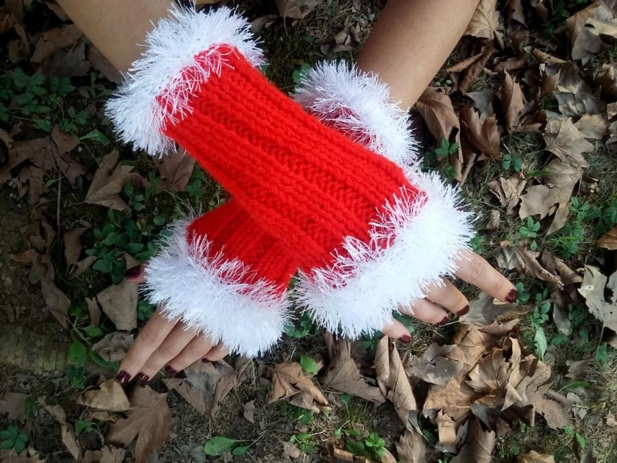 Свадьба - Christmas Gloves, Knit Christmas Mittens, Red Knit Mittens, Handmade Gloves, Crocheted Gloves, Mittens, Knitted Gloves, Women Gloves
