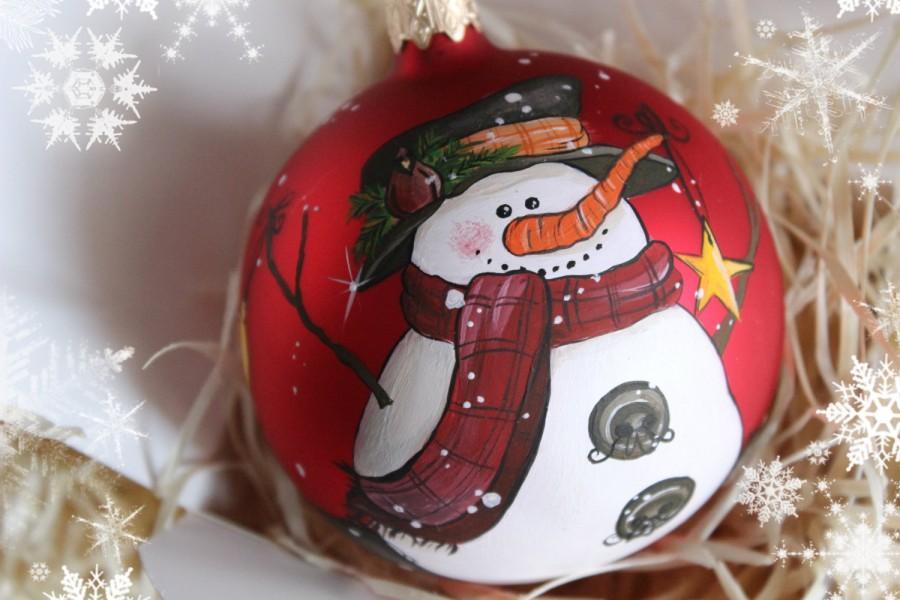 Свадьба - Snowman tree ball glass Christmas-tree decoration New-year decor ornament tree