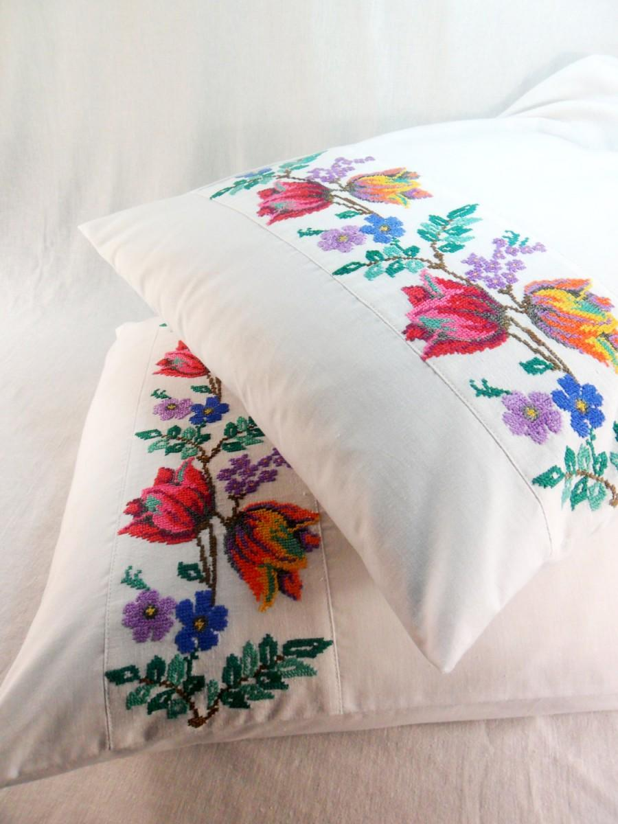 Embroidered Pillowcase Bedroom Decor Linen Cotton Floral