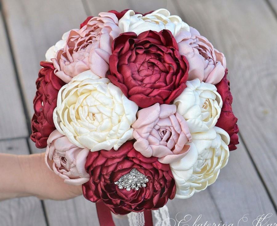 Свадьба - Brooch bouquet, marsala, ivory, beige. Wedding Bouquet, Unique, Fabric Flower, Bridal Bouquet.