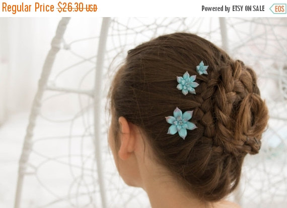 Christmas Sale Blue Succulent Hair Pins Hairpin Polymer Clay Bobby
