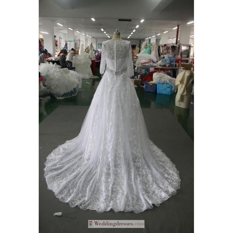 Wedding - 2017 Deep V Neckline Full Lace Court Train Beading Wedding Gown In Canada Wedding Dress Prices - dressosity.com