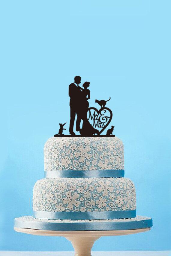 Свадьба - Wedding Cake Topper,Silhouette Cake Topper Wedding,Custom Bride and Groom Cake Topper,Rustic Wedding Mr and Mrs Cake Topper With Dogs