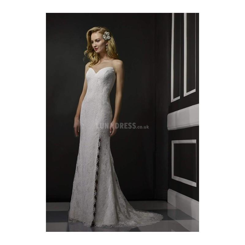 Low Waist Wedding Gowns: Sweetheart Floor Length Natural Waist Mermaid Lace Low